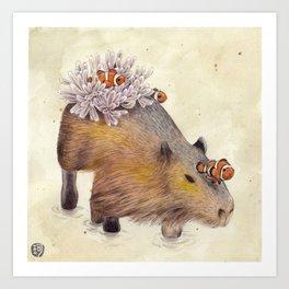 Capybara Clownfish Art Print