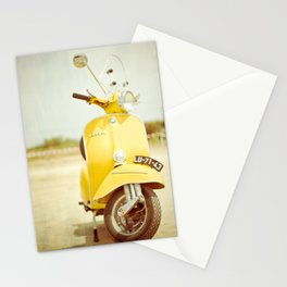 Yellow Scooter #vespaprint #italyphoto #travel #modstyle #yellowmustard Stationery Cards