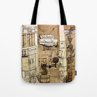 bauhaus Tote Bags featuring Bauhaus by Mike Oncley