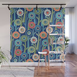 Coral and Blue Gerber Daisy Paper Cut Flowers Wall Mural
