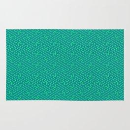 Aqua Sayagata Pattern - Auspicious Sacred Geometry Rug