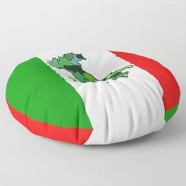 Map of Italy and Italian Flag Floor Pillow