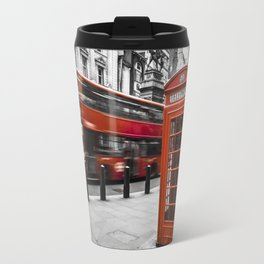 London Bus and Telephone Box in Red Travel Mug