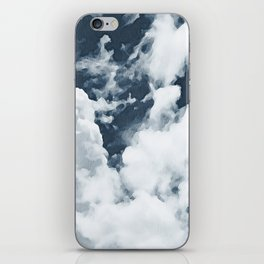 Abstract navy blue gray white watercolor hand painted clouds iPhone Skin