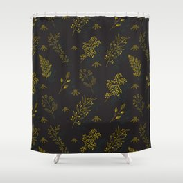 Thin delicate lines silhouettes of different plants. Shower Curtain