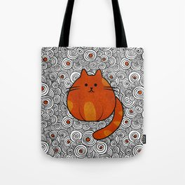 Cute Ginger Cat - Stained glass and swirls Tote Bag