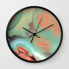 Living Coral and Teal Agate Wall Clock
