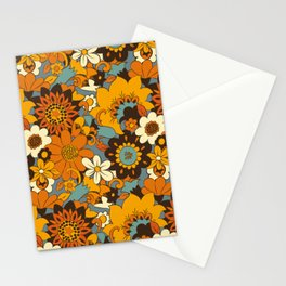 70s Retro Flower Power 60s floral Pattern Orange yellow Blue Stationery Cards