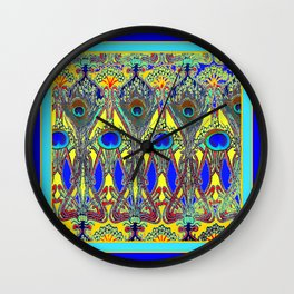 Decorative Blue Peacock Art Nouveau Themed Design Wall Clock