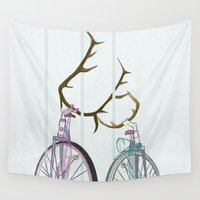 bicycles Wall Tapestries featuring Bicycles in Love by Wyatt Design