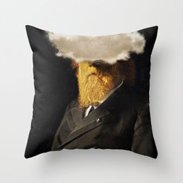 The inability of men with golden faces to be photographed without cloud. Throw Pillow