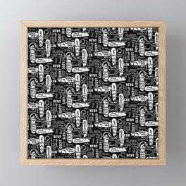 Gamer Lingo-Black and White Framed Mini Art Print