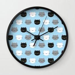 Cute Cats & Kawaii Kittens (Blue) Wall Clock