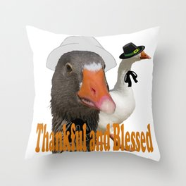 Thankful and Blessed Thanksgiving Pilgrims Throw Pillow