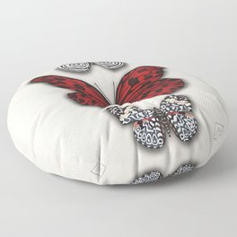 Red butterfly. Black and white papilon Floor Pillow