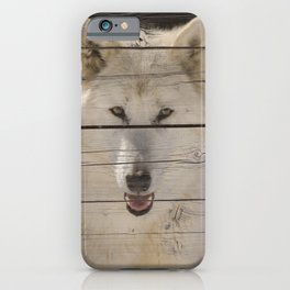 Aries the White Wolf on Faux Weathered Wood Texture Photograph iPhone Case
