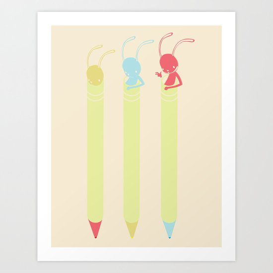 INK BUNNY & ROLL Art Print