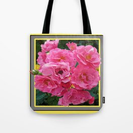 CLUSTERED PINK ROSES YELLOW-GREY ART Tote Bag
