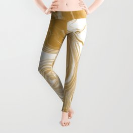 Marble gold pattern suminagashi spilled ink japanese watercolor abstract painting Leggings