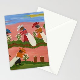 African American Masterpiece 'Six Figures Picking Cotton' folk art painting by Clementine Hunter Stationery Cards