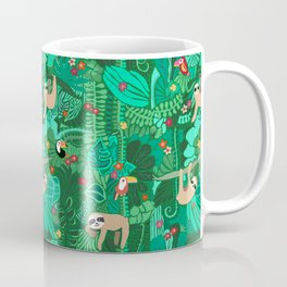 Sloths in the Emerald Jungle Pattern Coffee Mug