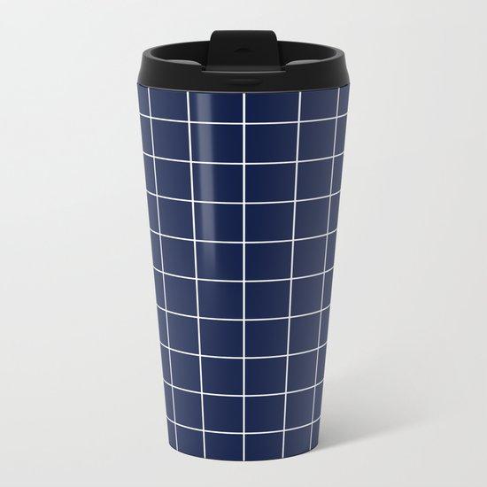 Indigo Navy Blue Grid Metal Travel Mug