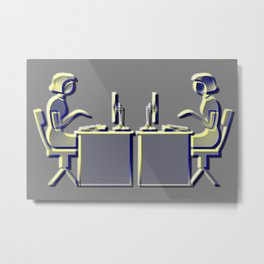Contemporary Office's Icon: girls at the laptop Metal Print