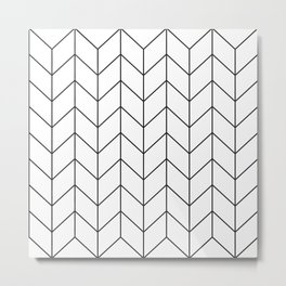 Herringbone Pattern Line Metal Print