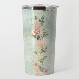 seamless, pattern, with delicate roses and monograms, shabby chic, retro. Travel Mug