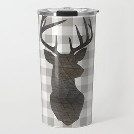 Rustic Farmhouse Decor, Stag Deer, Gingham Pattern, Grey and White Travel Mug