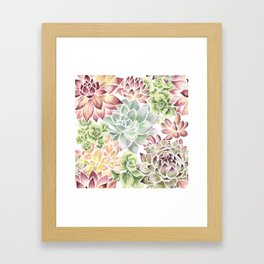 Bright Watercolor Succulents Framed Art Print