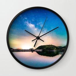 Milky Way and lake reflection Wall Clock