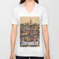 copenhagen V-neck T-shirts featuring Copenhagen Facades by Siddharth Dasari