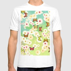Daisies and butterflies White MEDIUM Mens Fitted Tee