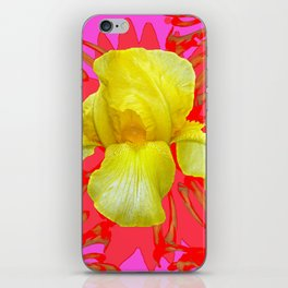 YELLOW IRIS MODERN ART RED FLORAL ABSTRACT iPhone Skin