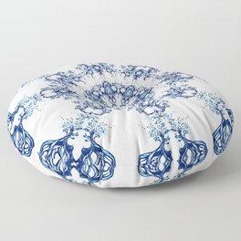 blue garden mandala Floor Pillow