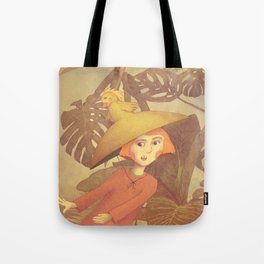 Girl running in a wilderness illustration Tote Bag