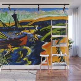 Sailboats & Beach at Nidden by Hermann Max Pechstein Wall Mural