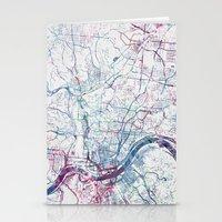 cincinnati Stationery Cards featuring Cincinnati map by MapMapMaps.Watercolors