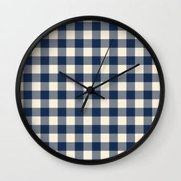 Buffalo Plaid Rustic Lumberjack Blue and White Check Pattern Wall Clock