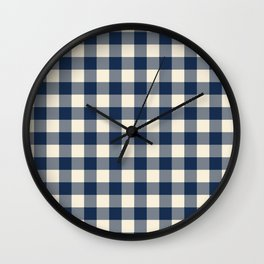 Buffalo Plaid Rustic Lumberjack Blue and White Check Pattern Wall Clock