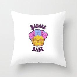 Badass Babe Flower Crown Skull Print Throw Pillow