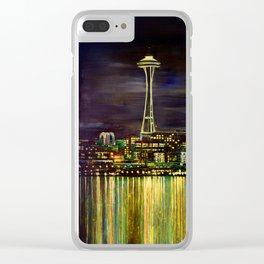 Seattle Night Skyline #3 Clear iPhone Case