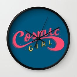 Cosmic Girl Feminist Lettering Art Wall Clock