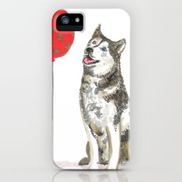 Husky With Balloon iPhone Case