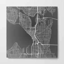 Seattle Map, USA - Gray Metal Print
