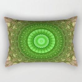 Mandala in vibrant green and pastel red tones Rectangular Pillow