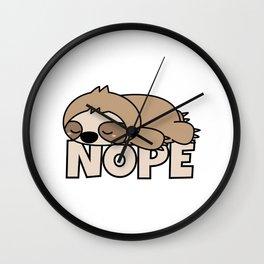 Nope Funny Sloth Wall Clock
