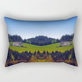 A farm, blue sky and some panorama | landscape photography Rectangular Pillow