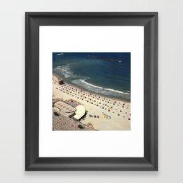 Tel-Aviv beach at summer, high from above, Israel, scaned sx-70 Polaroid Framed Art Print
